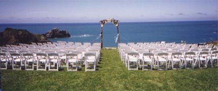 chairs set up at the ocean